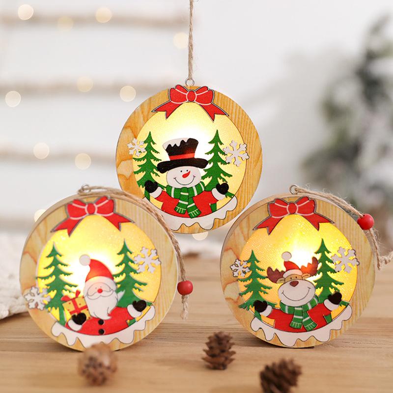 圣诞木质摆件圣诞老人礼物儿童小礼品小夜灯圣诞节橱窗场景装饰品