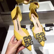 183-37夏季新款時尚女鞋中空單鞋尖頭貓跟細跟中跟一腳蹬水鉆鞋子