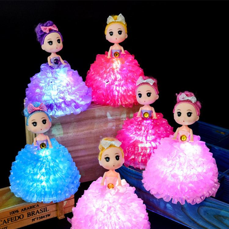 新款发光娃娃七彩闪灯精品手工迷糊娃娃裙撑配件女孩玩具礼品批发