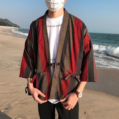 Japanese and Chinese style kimono Harajuku cardigan with loose blue stripes