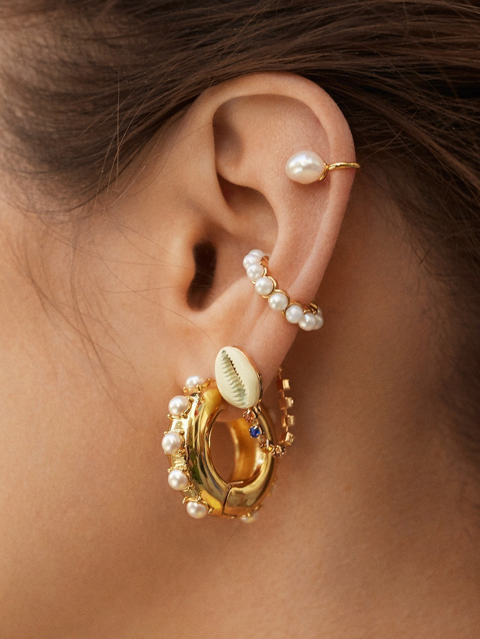 Simple C word ear cuff alloy pearl clip earrings single NHLL154689