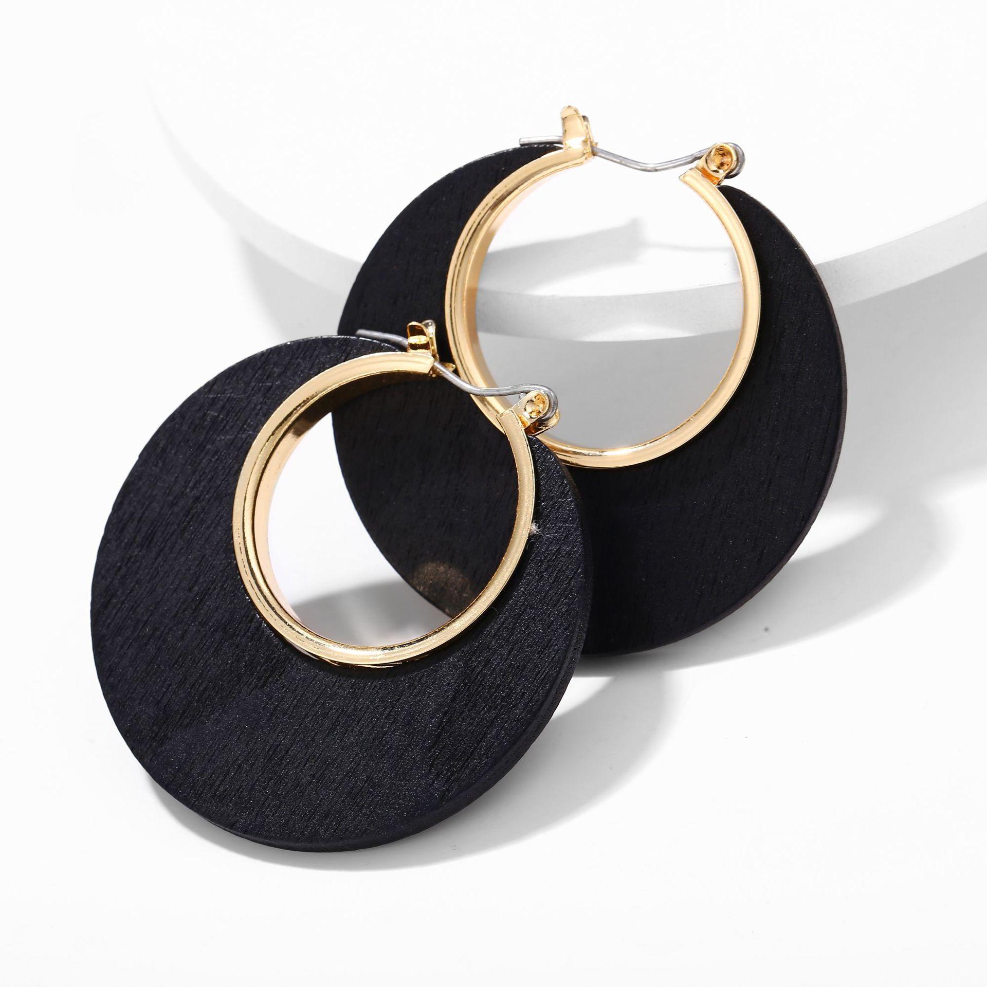 Creative retro simple classic solid color log C-shaped earrings NHPJ152903