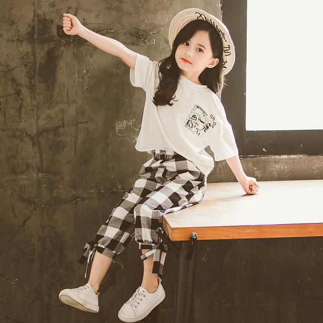 Bộ đồ bé gái mùa hè 2019 phiên bản Hàn Quốc mới của bé gái thời trang áo thun ngắn tay nước ngoài bảy chiếc quần hai dây trẻ em Bộ đồ trẻ em