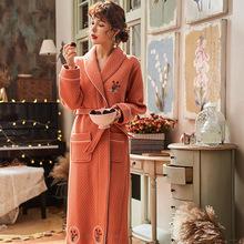 高档睡袍女秋冬季纯棉夹层加厚中长款全棉浴袍保暖睡衣新款家居服