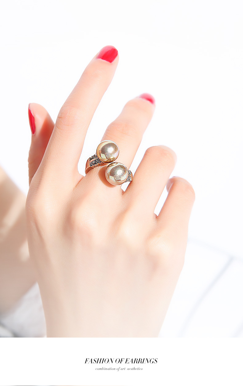 Fashion women's ring exaggerated bead opening adjustable fashion ring women NHPP201954