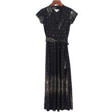 欧美夏季新款气?#24066;领短袖腰带修身中长款礼服裙连衣裙裹胸裙