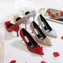 亮片水晶鞋子2020年新款水钻婚鞋银色高跟鞋社交宴会女鞋一件代发