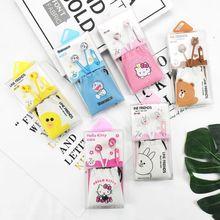 新款 卡通小黄鸭学生KT猫入耳式带皮袋收纳带麦通话手机电脑耳机