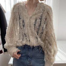 秋季新款韩版大码女装性感显瘦蕾丝钩花V领灯笼袖衬衫上衣200斤