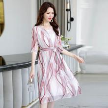夏裝淑女裝修身收腰真絲連衣裙圓領中袖純桑蠶絲打底裙條紋雙層
