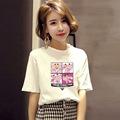 韩版女装2019夏季新款宽松学生短袖t恤女式上衣大码圆领打底衫潮