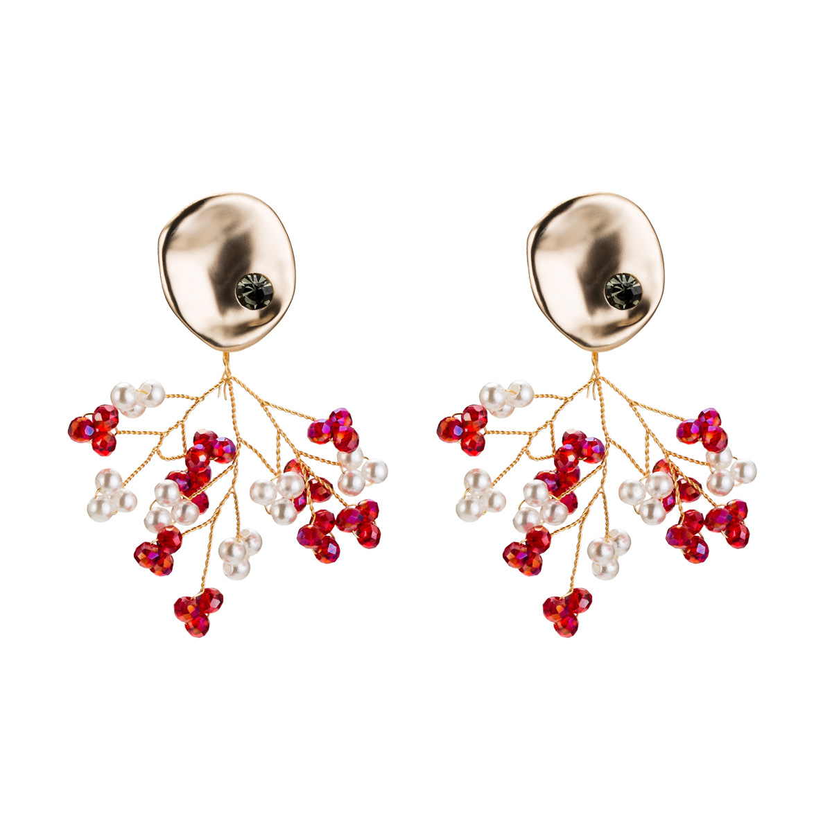 Beads Fashion Flowers earring  (red)  Fashion Jewelry NHJE2600-red