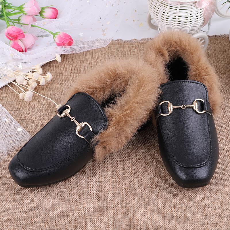 批发女鞋秋冬季加绒豆豆鞋公主鞋韩版加绒棉鞋毛毛鞋女士皮鞋