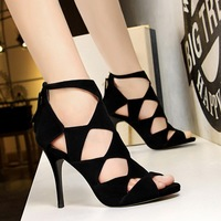 189-1 European and American retro women's shoes slim heel high heel suede fish mouth hollow sexy nightclub slim sandals Roman shoes