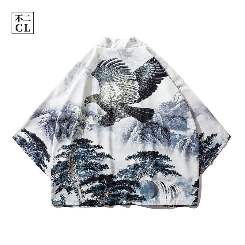 港风原创日系复古道袍中国风汉服薄款中袖和服潮男七分袖开衫男女