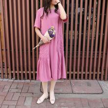 2019夏季新款韩版天丝短袖连衣裙女中长款时尚高端复古宽松连衣裙