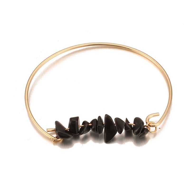 Eye crushed horns black gold openwork pineapple bracelet set NHGY156926