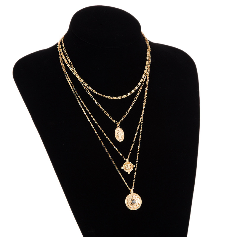 Womens Portrait cross star plating alloy Necklaces NHGY124000