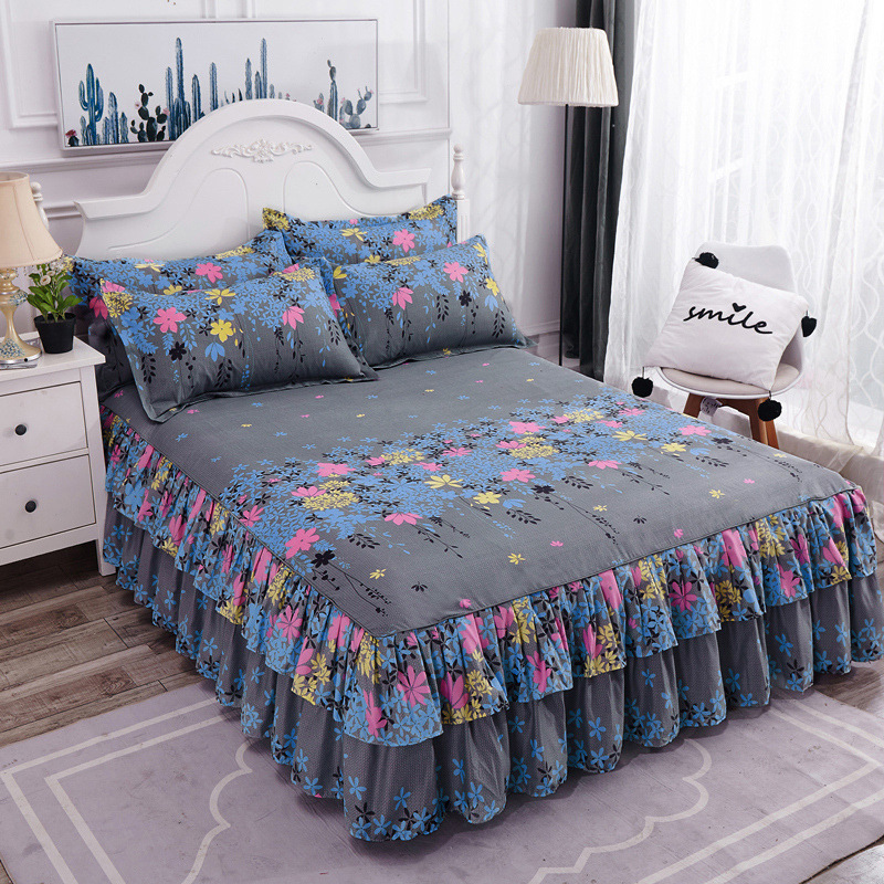 [double side bed skirt + a pair of pillowcases] New Korean bed skirt three piece bedspread sold by cross-border manufacturers