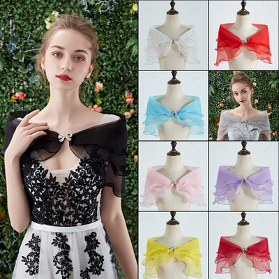 Bridal sheer shawl wedding dress cape for women covering arms Mori wedding dress cocktail banquet party dress shawl thin one-shoulder top