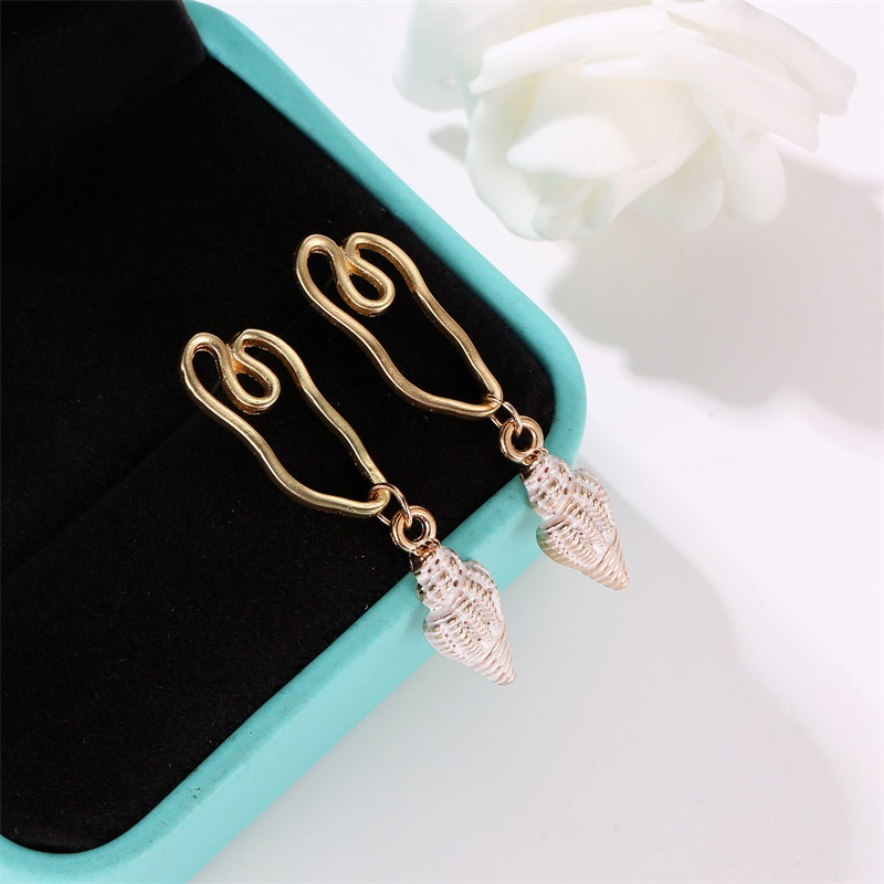 New Asian gold color conch earrings NHDP151933
