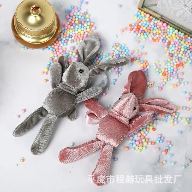 厂家批发许愿兔花束兔子韩国绒兔丝绒长脚兔公仔毛绒玩具批发挂件