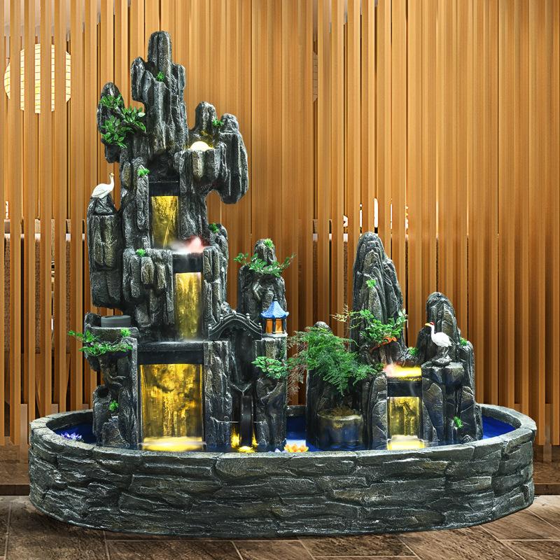 大?#22270;?#23665;流水喷泉瀑布盆景室内山水景观阳台办公室客厅庭院鱼池