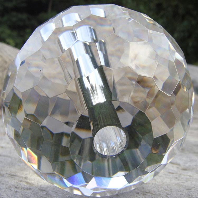 k9水晶打孔球透明水晶球切面三角面蜂窝面刻面球工程装饰玻璃半球
