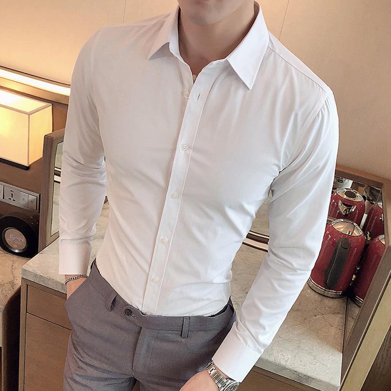 男裝新款韓版商務純色襯衣 代理加盟男士時尚休閑修身長袖襯衫男