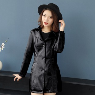 Spring mid-length women's leather jackets, women 2020 mothers fit middle-aged and elderly leather jackets, suit collar leather jackets