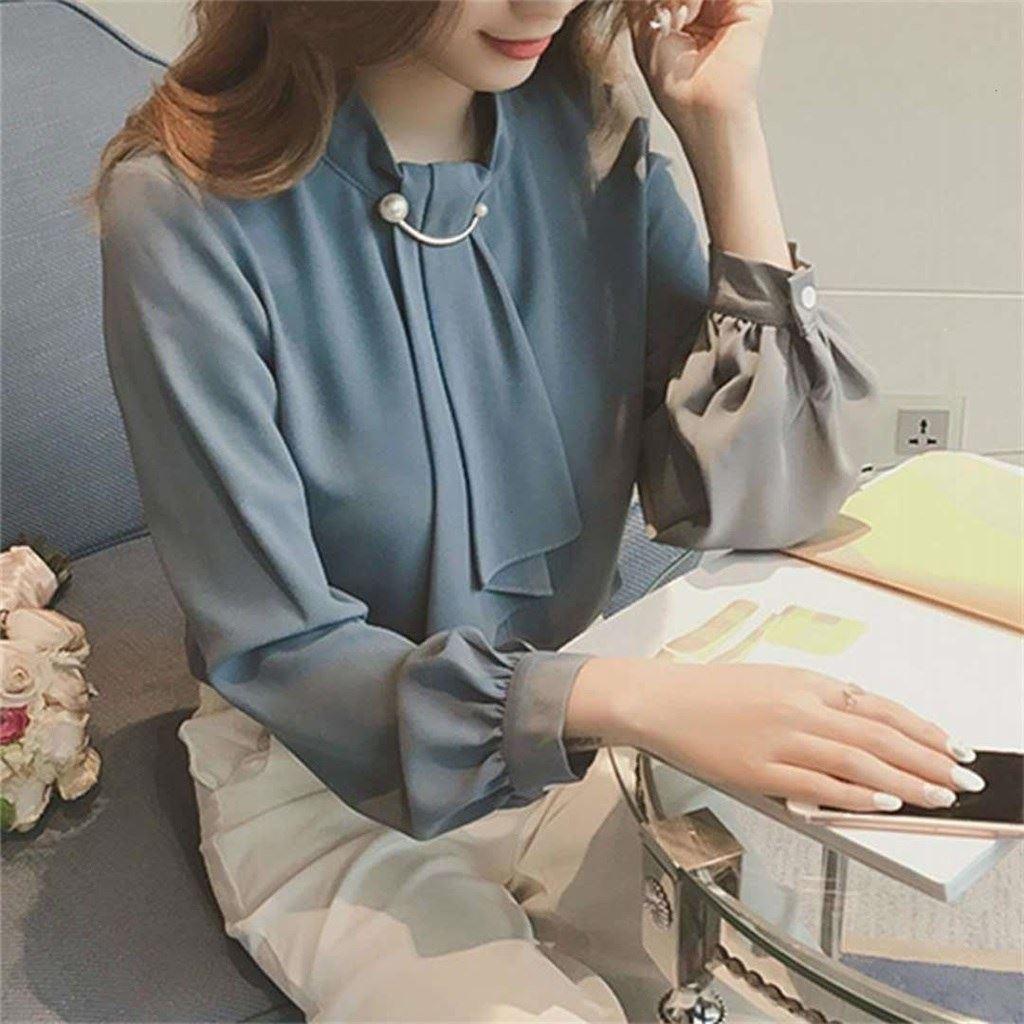 春装新款韩版针织环扣灯笼袖套头雪纺衫女长袖打底衬衫上衣