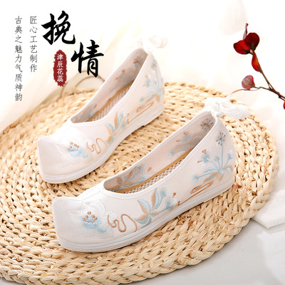Ancient chinese hanfu shoes Han clothing shoes children ancient fairy princess peformance embroidered shoes for girls