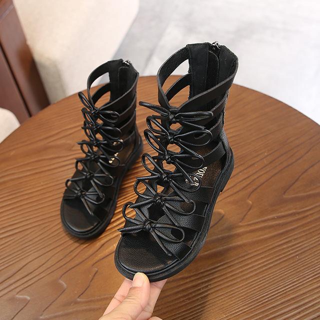 Giày trẻ em 2019 hè mới bằng da giản dị cao giúp giày Roman thời trang đế mềm cho bé gái Giày cao cổ