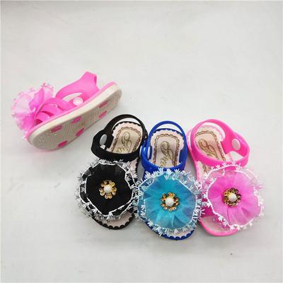 出口吹气童鞋新款透气花多朵凉鞋儿童学步沙滩鞋女婴童凉鞋