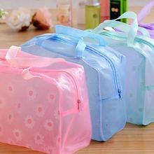 旅行手提洗漱包 化妝包洗浴防水袋收納袋 加厚碎花透明整理袋贈品