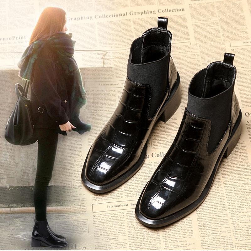 2019秋冬新款短靴欧洲站chic鳄鱼皮女靴切尔西短靴粗跟马丁靴代发
