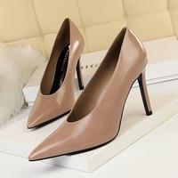 965-1 Euro-American Style Simple High-heeled Hollow Point V-shaped Sexy Night Shop Slim Single Shoes Grandma High-heeled Shoes