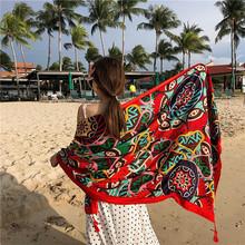 厂家棉麻民族风旅游丝巾 度假防晒披肩 空调保暖围巾女海边沙滩巾