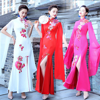 Cheongsam performance dress long show etiquette welcome stage dress large female