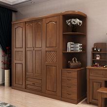 現代簡約新中式橡膠木實木衣柜實木衣櫥臥室家具廠家直銷一件批發