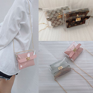 Transparent picture mother shoulder bag female bag 2019 new chain hit color lock mobile phone mini bag printing messenger bag