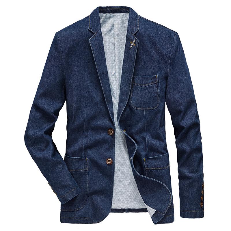 新款跨境夹克男士青年薄款中年帅气修身西装春秋牛仔外套商务休闲