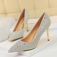 9237-1 Korean fashion sexy slim metal heel high heel, shallow pointed water drill women's single shoes high heel shoes