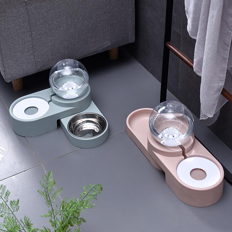 亚马逊泡泡自动续水猫碗双碗 宠物饮水器猫咪喝水食盆厂家直销