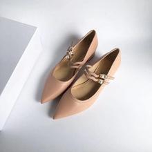 韩国小众时尚设计皮带扣浅口单鞋粗跟尖头女鞋复古风女鞋工厂直批