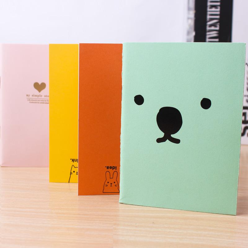 韩版文具 可爱糖果色烫金4色记事本 卡通日记本 批发