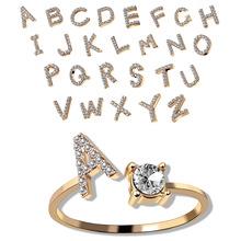跨境爆款戒指饰品 创意女士戒指可调节开口戒指26字母戒指批发