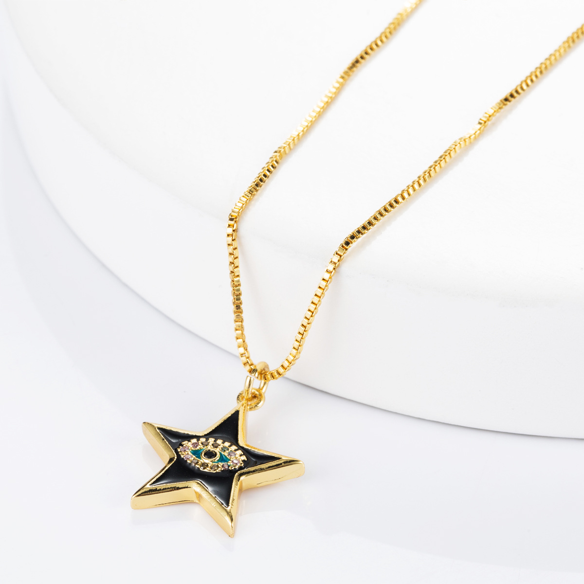 Copper micro-inlaid zircon eye five-pointed star clavicle chain necklace NHLN155105