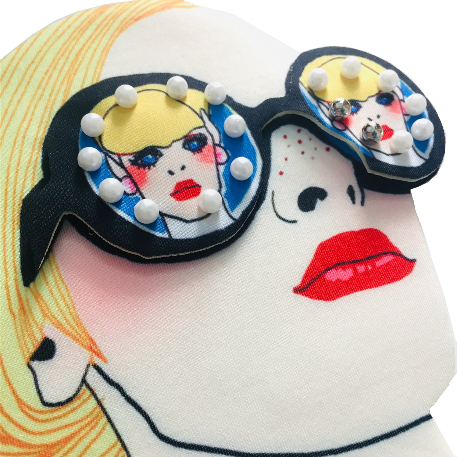 Gafas de impresión chica estampado en caliente pegatinas de tela impresas transferencia de calor 3D accesorios de decoración de ropa NHLT184885