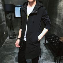 秋季风衣男2019新品连帽中长款夹克韩版修身?#21487;?#22806;套薄款一件代发
